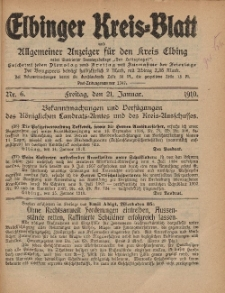 Kreis-Blatt des Königlich Preußischen Landraths-Amtes zu Elbing, Nr. 6 Freitag 21 Januar 1910