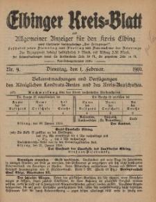 Kreis-Blatt des Königlich Preußischen Landraths-Amtes zu Elbing, Nr. 9 Dienstag 1 Februar 1910