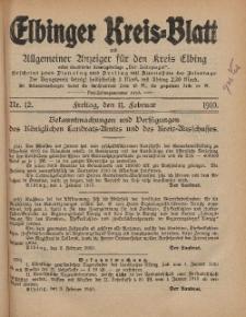 Kreis-Blatt des Königlich Preußischen Landraths-Amtes zu Elbing, Nr. 12 Freitag 11 Februar 1910
