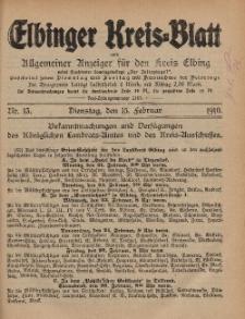 Kreis-Blatt des Königlich Preußischen Landraths-Amtes zu Elbing, Nr. 13 Dienstag 15 Februar 1910