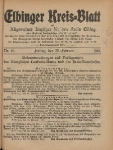 Kreis-Blatt des Königlich Preußischen Landraths-Amtes zu Elbing, Nr. 16 Freitag 25 Februar 1910