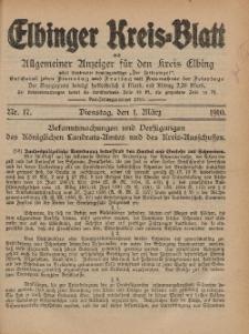 Kreis-Blatt des Königlich Preußischen Landraths-Amtes zu Elbing, Nr. 17 Dienstag 1 März 1910