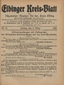 Kreis-Blatt des Königlich Preußischen Landraths-Amtes zu Elbing, Nr. 18 Freitag 4 März 1910