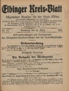 Kreis-Blatt des Königlich Preußischen Landraths-Amtes zu Elbing, Nr. 23 Dienstag 22 März 1910