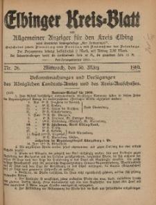 Kreis-Blatt des Königlich Preußischen Landraths-Amtes zu Elbing, Nr. 26 Mittwoch 30 März 1910