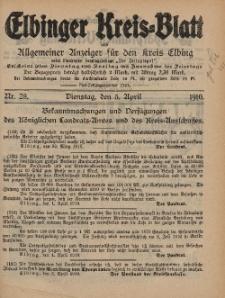 Kreis-Blatt des Königlich Preußischen Landraths-Amtes zu Elbing, Nr. 28 Dienstag 5 April 1910