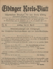Kreis-Blatt des Königlich Preußischen Landraths-Amtes zu Elbing, Nr. 31 Freitag 15 April 1910