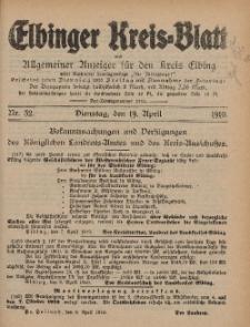 Kreis-Blatt des Königlich Preußischen Landraths-Amtes zu Elbing, Nr. 32 Dienstag 19 April 1910