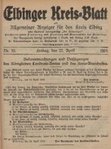 Kreis-Blatt des Königlich Preußischen Landraths-Amtes zu Elbing, Nr. 33 Freitag 22 April 1910
