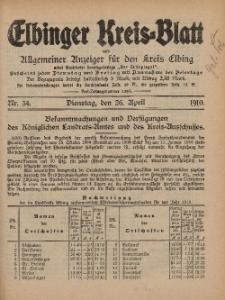 Kreis-Blatt des Königlich Preußischen Landraths-Amtes zu Elbing, Nr. 34 Dienstag 26 April 1910
