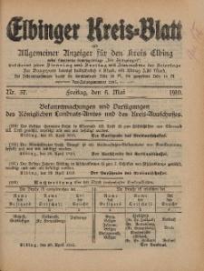 Kreis-Blatt des Königlich Preußischen Landraths-Amtes zu Elbing, Nr. 37 Freitag 6 Mai 1910