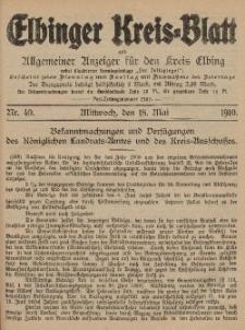 Kreis-Blatt des Königlich Preußischen Landraths-Amtes zu Elbing, Nr. 40 Mittwoch 18 Mai 1910