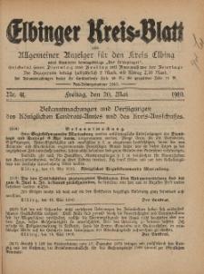 Kreis-Blatt des Königlich Preußischen Landraths-Amtes zu Elbing, Nr. 41 Freitag 20 Mai 1910