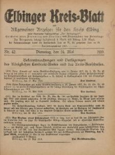 Kreis-Blatt des Königlich Preußischen Landraths-Amtes zu Elbing, Nr. 42 Dienstag 24 Mai 1910