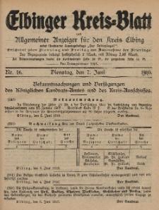 Kreis-Blatt des Königlich Preußischen Landraths-Amtes zu Elbing, Nr. 46 Dienstag 7 Juni 1910
