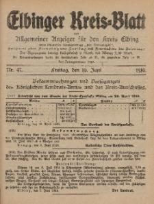 Kreis-Blatt des Königlich Preußischen Landraths-Amtes zu Elbing, Nr. 47 Freitag 10 Juni 1910