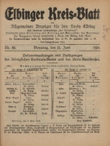 Kreis-Blatt des Königlich Preußischen Landraths-Amtes zu Elbing, Nr. 48 Dienstag 14 Juni 1910