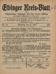 Kreis-Blatt des Königlich Preußischen Landraths-Amtes zu Elbing, Nr. 50 Dienstag 21 Juni 1910