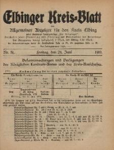 Kreis-Blatt des Königlich Preußischen Landraths-Amtes zu Elbing, Nr. 51 Freitag 24 Juni 1910