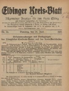 Kreis-Blatt des Königlich Preußischen Landraths-Amtes zu Elbing, Nr. 52 Dienstag 28 Juni 1910