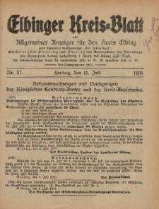 Kreis-Blatt des Königlich Preußischen Landraths-Amtes zu Elbing, Nr. 57 Freitag 15 Juli 1910