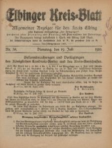 Kreis-Blatt des Königlich Preußischen Landraths-Amtes zu Elbing, Nr. 58 Dienstag 19 Juli 1910
