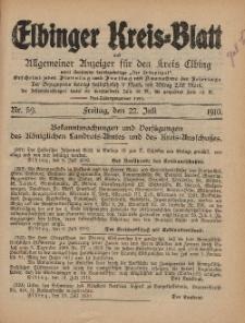 Kreis-Blatt des Königlich Preußischen Landraths-Amtes zu Elbing, Nr. 59 Freitag 22 Juli 1910