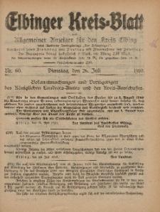 Kreis-Blatt des Königlich Preußischen Landraths-Amtes zu Elbing, Nr. 60 Dienstag 26 Juli 1910