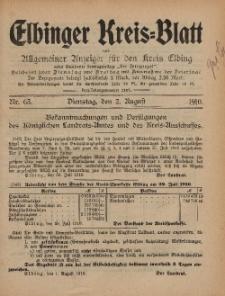Kreis-Blatt des Königlich Preußischen Landraths-Amtes zu Elbing, Nr. 63 Dienstag 2 August 1910