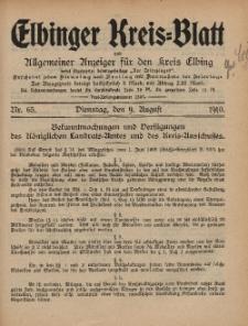 Kreis-Blatt des Königlich Preußischen Landraths-Amtes zu Elbing, Nr. 65 Dienstag 9 August 1910
