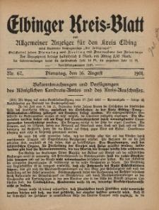 Kreis-Blatt des Königlich Preußischen Landraths-Amtes zu Elbing, Nr. 67 Dienstag 16 August 1910