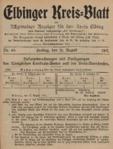 Kreis-Blatt des Königlich Preußischen Landraths-Amtes zu Elbing, Nr. 68 Freitag 19 August 1910