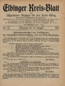 Kreis-Blatt des Königlich Preußischen Landraths-Amtes zu Elbing, Nr. 69 Dienstag 23 August 1910