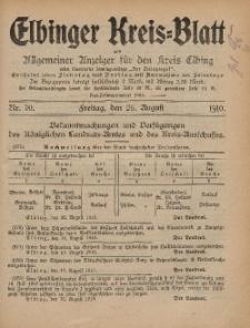 Kreis-Blatt des Königlich Preußischen Landraths-Amtes zu Elbing, Nr. 70 Freitag 26 August 1910