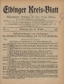 Kreis-Blatt des Königlich Preußischen Landraths-Amtes zu Elbing, Nr. 71 Dienstag 30 August 1910