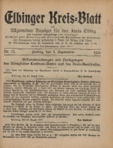 Kreis-Blatt des Königlich Preußischen Landraths-Amtes zu Elbing, Nr. 72 Freitag 2 September 1910