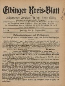 Kreis-Blatt des Königlich Preußischen Landraths-Amtes zu Elbing, Nr. 74 Freitag 9 September 1910