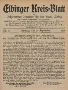 Kreis-Blatt des Königlich Preußischen Landraths-Amtes zu Elbing, Nr. 75 Dienstag 13 September 1910