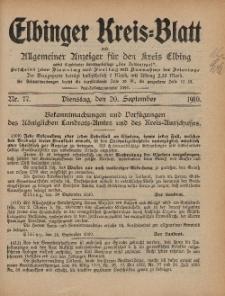 Kreis-Blatt des Königlich Preußischen Landraths-Amtes zu Elbing, Nr. 77 Dienstag 20 September 1910
