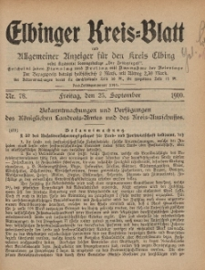 Kreis-Blatt des Königlich Preußischen Landraths-Amtes zu Elbing, Nr. 78 Freitag 23 September 1910