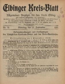 Kreis-Blatt des Königlich Preußischen Landraths-Amtes zu Elbing, Nr. 79 Dienstag 27 September 1910