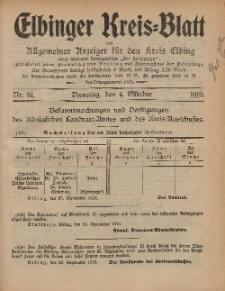 Kreis-Blatt des Königlich Preußischen Landraths-Amtes zu Elbing, Nr. 81 Dienstag 4 Oktober 1910