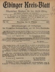 Kreis-Blatt des Königlich Preußischen Landraths-Amtes zu Elbing, Nr. 83 Dienstag 11 Oktober 1910