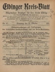 Kreis-Blatt des Königlich Preußischen Landraths-Amtes zu Elbing, Nr. 87 Dienstag 25 Oktober 1910