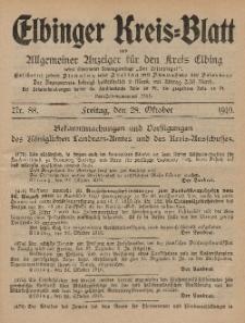 Kreis-Blatt des Königlich Preußischen Landraths-Amtes zu Elbing, Nr. 88 Freitag 28 Oktober 1910