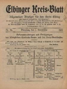 Kreis-Blatt des Königlich Preußischen Landraths-Amtes zu Elbing, Nr. 89 Dienstag 1 November 1910