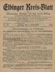Kreis-Blatt des Königlich Preußischen Landraths-Amtes zu Elbing, Nr. 90 Freitag 4 November 1910