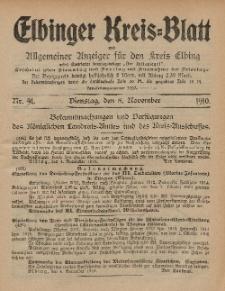 Kreis-Blatt des Königlich Preußischen Landraths-Amtes zu Elbing, Nr. 91 Dienstag 8 November 1910