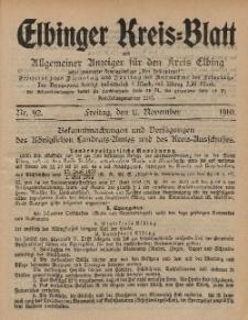 Kreis-Blatt des Königlich Preußischen Landraths-Amtes zu Elbing, Nr. 92 Freitag 11 November 1910