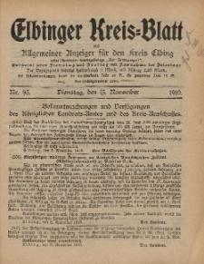 Kreis-Blatt des Königlich Preußischen Landraths-Amtes zu Elbing, Nr. 93 Dienstag 15 November 1910